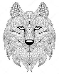 Wolf Head In Zentangle Style Adult Antistress Coloring Page Black And White Hand Drawn