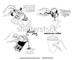 Vector Illustration Stylized Drawing Methods Of Making CoffeeTurkish In Mocha Coffee Maker