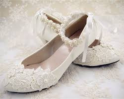 Handmade Off White Lace Bridal Shoes Flat Ankle Strap Wedding
