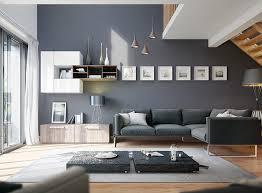 wandfarbe grau wohnzimmer element metall ecksofa holzboden