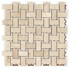 12 x12 crema marfil polished marble basketweave with white