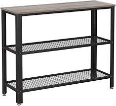 vasagle konsolentisch flurtisch mit 2 gitterablagen beistelltisch sideboard wohnzimmer flur 101 5 x 35 x 80 cm schmal stahl im