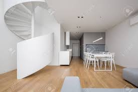 100 Elegant Apartment Apartment In White With Spiral Staircase And Dining Table