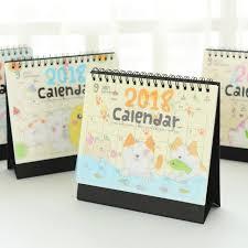 calendrier bureau 2017 2018 mignon de bande dessinée animaux mini table calendriers