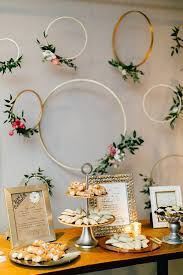 Simple And Beautiful Gold Embrodery Hoop Flower Dessert Table Backdrop
