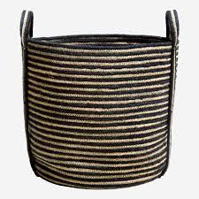 runder gestreifter korb aus jute mit griffen 45cm