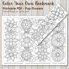 Printable PDF Bookmark Coloring With Retro Pop Flower Design Instant Download Adult Hippie Flowers By SLS Lines
