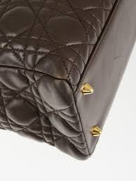 christian dior chocolate cannage quilted lambskin leather medium