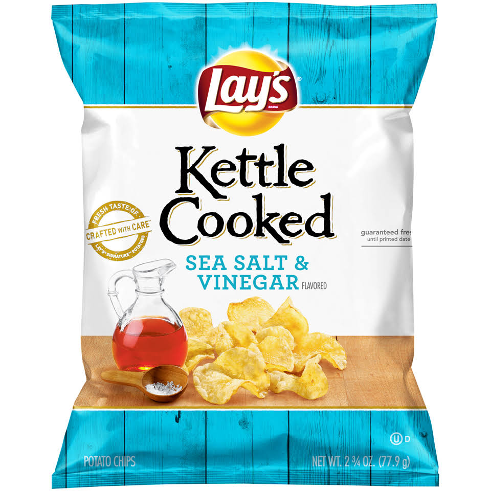 Lay's Kettle Cooked Potato Chips - Sea Salt & Vinegar, 77.9g