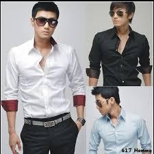 Free Shipping New Mens Casual Slim Fit Stylish Dress Shirts Men Shirt Color BlackWhiteBluePink SizeMLXL Size MLXLXXL