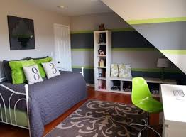 jugendzimmer mädchen klein schräge grau grün weiß ikea