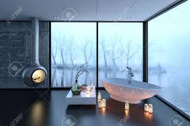 3d rendering badewanne kamin und kerzen in luxus badezimmer mit großer beschlagenen fenster und bäume im hintergrund