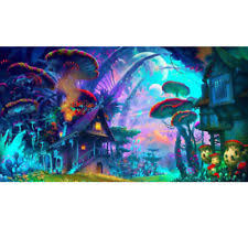 24x36inch Psychedelic Trippy Mushroom Town Art Fabric Silk Poster Print Decor