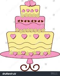 Clip art illustration of fondant covered modern style layer cake from a bakery decorated with