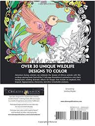 Amazon Creative Haven Midnight Safari Coloring Book Wild Animal Designs On A Dramatic Black Background Adult 9780486813769 Lindsey