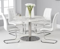 Bali 120cm Round White Marble Dining Table With Lorin Dining Chairs