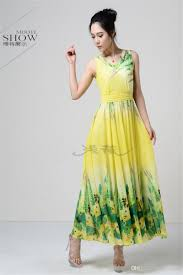 2015 womens maxi beach dress chiffon flower printed fashion v neck