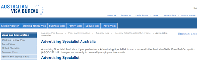 visa bureau australia advertising specialist my career paths
