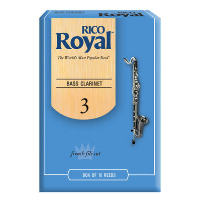 Rico Royal Bass Clarinet Reeds - Strength 3.0, 10pk