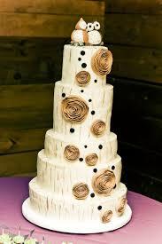 Birch Tree Wedding Cake With Owl Topper
