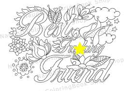 Best Fcking Friend Gift Birthday Printable Coloring Pages Swear Word Adult Book