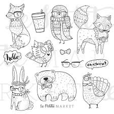 Woodland Hipster Animal Clipart Clip Art Hand Drawn Fox Owl Bunny Rabbit Digital Stamps Commercial Use