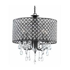 Modern Chandelier With Hanging Crystal And Round Bronze Drum Shades Ideas For Dining Room Or Bedroom Lighting
