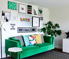 Bold Green Sofa With Touches Of Monochrome And Bright Pops Colour Prints Adding