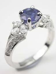 Sapphire And Pear Shaped Diamond Engagement Ring 3