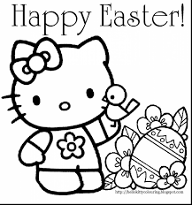Impressive Hello Kitty Easter Coloring Pages With Happy And Bunny