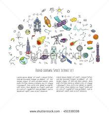 Hand Drawn Doodle Space Cosmos Set Stock Vector