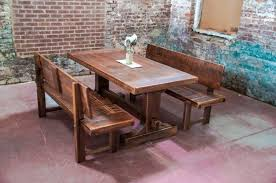 Rustic Farm Table With Bench Having Back Plus Exsposed Brick Wall Cushioned Dining Also Room Backrest