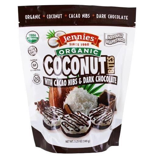 Jennies Organic Coconut Bites with Cacao Nibs, 5.25oz