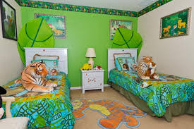 Bright Jungle Inspired Shared Bedroom