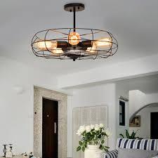 Gymax Industrial Vintage Semi Flush Mount Ceiling Light