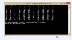 table de multiplication bien programmer langage c samir 7