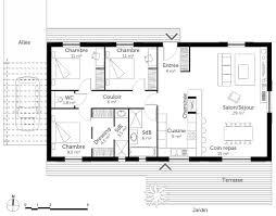 plan maison en l plain pied 3 chambres plan maison plain pied 4 chambres avec suite parentale