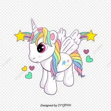 Dibujo Animado De Color Unicornio Cartel Encantador Arco Iris