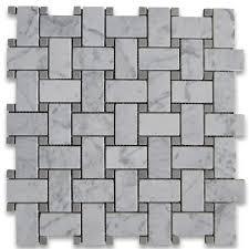 Carrara White 1x2 Basketweave Mosaic Tile W Gray Dots Honed