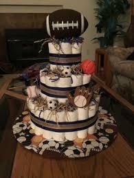 Sports Mini Diaper Cakes Basketball Football Baseball Soccer Cake Centerpieces