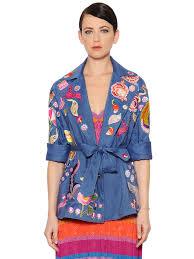 temperley london embroidered cool wool u0026 linen jacket blue multi
