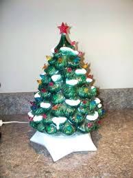 White Ceramic Tree Light Up Vintage Green