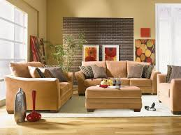 Transitional Living Room Leather Sofa by Living Room Gray Stain Wall Brown Knitted Fabric Area Rug Beige
