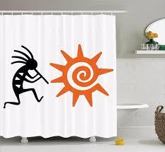 High Quality Arts Shower Curtains Ethnic Series Orange Sun People
