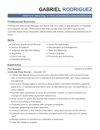 View Resume FOH Manager