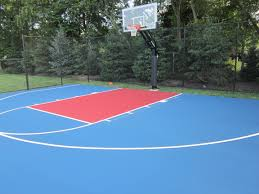 This Is A Royal Blue And Red Backyard Asphalt Basketball Court We ... Outdoor Courts For Sport Backyard Basketball Court Gym Floors 6 Reasons To Install A Synlawn Design Enchanting Flooring Backyards Winsome Surfaces And Paint 50 Quecasita Download Cost Garden Splendid A 123 Installation Large Patio Turned System Photo Album Fascating Paver Yard Decor Ideas Building The At The American Center Youtube With Images On And Commercial Facilities