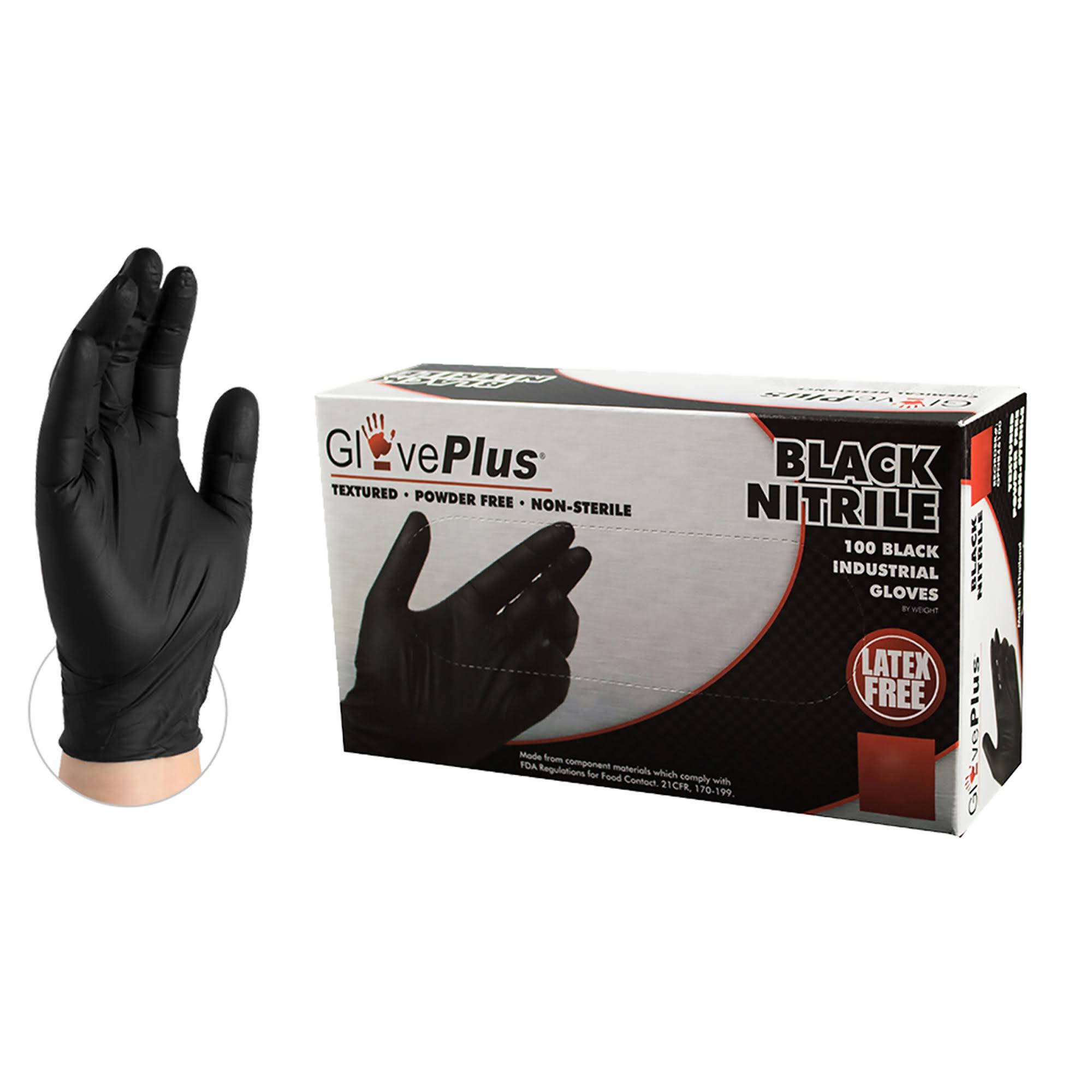 Gloveplus Textured Nitrile Glove Large - Black, 100 Pack
