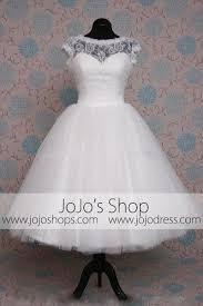 Retro 50s Tea Length Short Sleeve Tulle Lace Wedding Dress