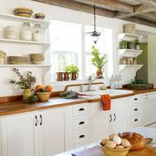 Exposed Beams On A Farmhouse Kitchen Works Quite Good With White Cabinetry And Shelves