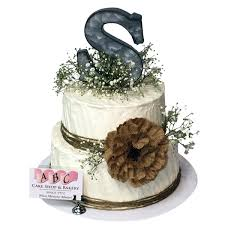 2130 2 Tier Rustic Cake With Babys Breath Burlap Rose